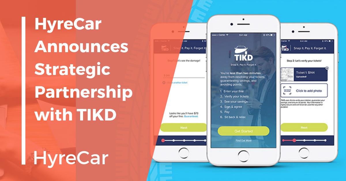 Rideshare, ridesharing, hyrecar, TIKD, hyrecar partnership, mobility
